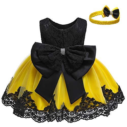LZH Kleinkind Baby Mädchen Kleid Geburtstag Bowknot Hochzeit Tutu Prinzessin Blume Spitzenkleid(8348-Black&Yellow,12M)