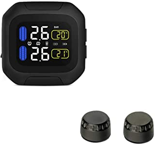 Rosymity CAREUD Motorcycle Tire Pressure Monitoring System Wireless Motorcycle TPMS Tires Motor Auto Tyre Alarm System Waterproof with 2 External Sensors for Two-Wheeled Motorcycle