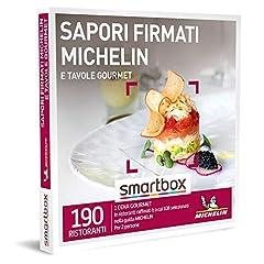 Idea Regalo - Smartbox - Sapori Firmati Michelin e Tavole Gourmet - Cofanetto Regalo Coppia, 1 Cena Gourmet per 2 Persone, dee Regalo Originale