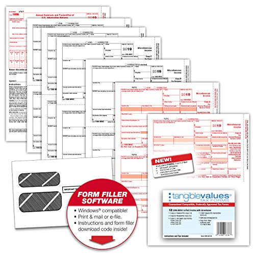 1099 Misc Tax Forms 2019 - Tangible Values 5-Part Kit with Envelopes - Software Download Included, 12 Pack