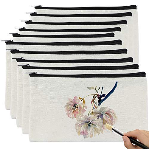 Komake Lote de 10 Pequeños Kits de Tela en Blanco para Pintar, Bolsas de Lona con Cremallera, para Que Los Niños Pinten, Decoren (Blanco)