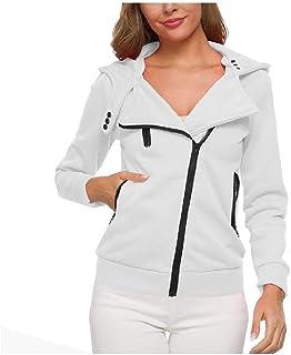 Howely Womens Slim hicken Oblique Zipper Pocketed Hooded Winter Jacket