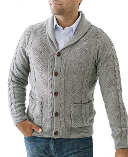 Hope & Henry Men's Shawl Collar Cable Knit Cardigan Sweater Dark Gray Heather