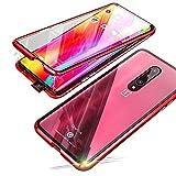 Jonwelsy Funda para OnePlus 7 Pro (6,67 Pulgada), 360 Grados Delantera y Trasera de Transparente Vidrio Templado Case Cover, Fuerte Tecnología de Adsorción Magnética Metal Bumper Cubierta (Rojo)