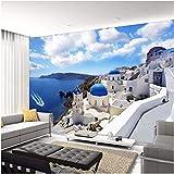 Mural Decorativo Autoadhesivo Papel Tapiz Fotográfico 3D Personalizado Grecia Egeo Mediterráneo Grandes Murales Sala De Estar Dormitorio Sofá Tv Fondo Decoración De Pared-350X250Cm