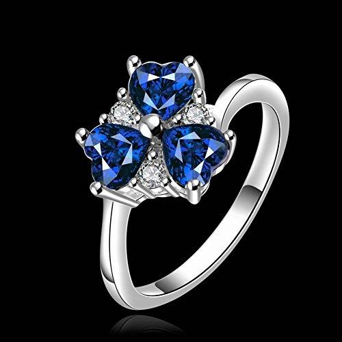 Set 3 stenen liefdeshart rode zirkonia ring, blauw, 8