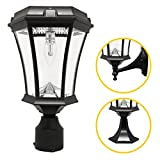 Gama Sonic GS-94B-FPW Victorian Bulb Lamp Outdoor Solar Light Fixture, Pole Pier & Wall Mount Kits, Black Finish