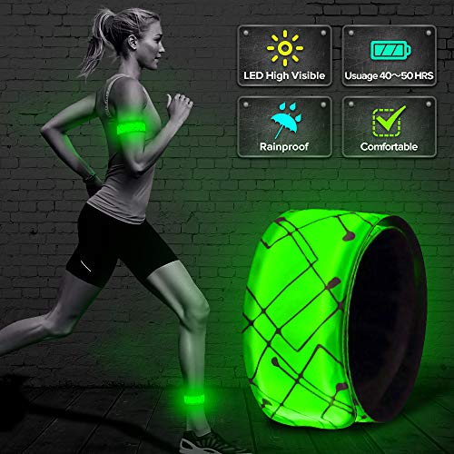 ELANOX LED Slap Band Armband Reflektorband Lichtband Joggen Radfahren Kinderwagen Mottorrad (grün)