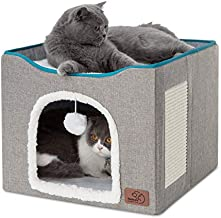 Bedsure Cat Beds for Indoor Cats -Large Cat Cave for Pet Cat House with Fluffy Ball Hanging and Scratch Pad, Foldable Cat Hidewawy,16.5x16.5x14 inches, Grey