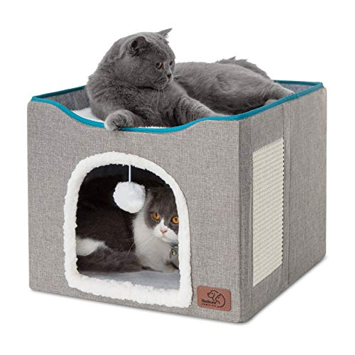 Bedsure Cat Cube, Foldable Cat Cubes for Indoor Cats, Cat House Indoor - Large...