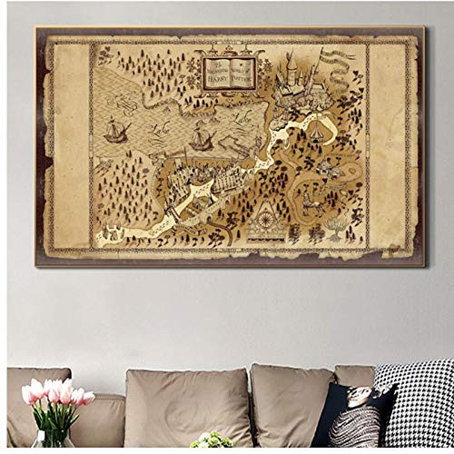 Genetic Los Angeles Zhangzidong Marauder's Map Posters and Prints Painting on Canvas Wall Art Picture Decoration 60x80 cm No Frame
