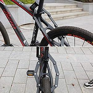 Bestcool Cerradura plegable, contraseñas portátiles de 4 dígitos Cerradura de bicicleta con 6 articulaciones de metal endurecido de alta seguridad, cerradura de bicicleta antirrobo