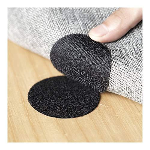 WEIYUE 10 pares de pegatinas autoadhesivas para alfombras antideslizantes con cierre de puntos adhesivos de velcro, sábana de sofá (color: negro)