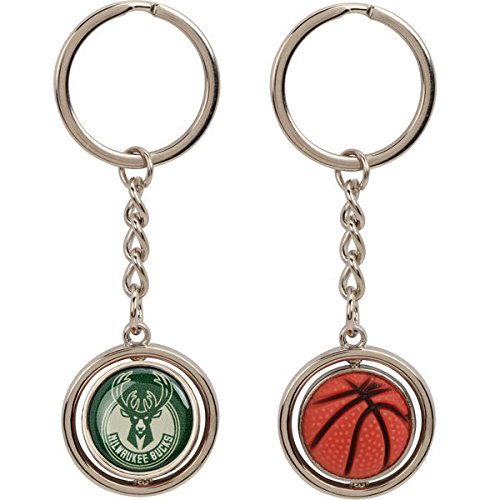 aminco NBA Milwaukee Bucks Rubber Basketball Spinning Keychain