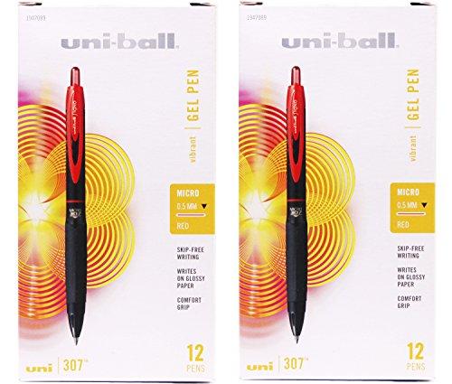 Uni-Ball - Bolígrafos de gel retráctiles, color rojo, 0,5 mm, 12 bolígrafos