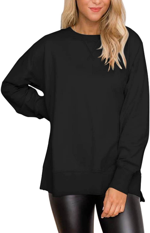 ADREAMLY Women's Casual Long Sleeve Sweatshirt Crew Neck Oversized Pullover Side Split Tunic Tops
