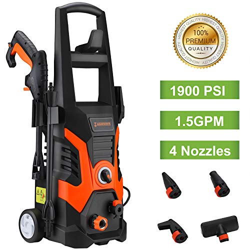 US PIEDLE Electric Pressure Washer 1900 PSI 1.5GPM 13-AMP Power Washer W/ 3 Various Nozzles Soap Dispenser and Wash Brush, Black and Orange