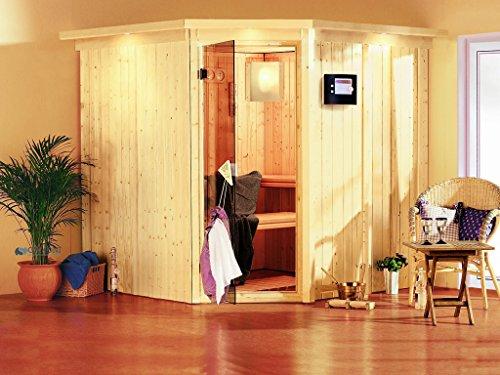 Karibu Sauna Jarin inkl. 9-kW-Ofen mit interner Steuerung, mit Dachkranz, mit moderner Saunatür