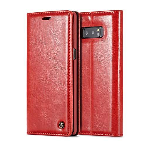 zanasta Custodia in Pelle Compatibile con Samsung Galaxy Note 9   Cover, Chiusura Magnetica, Slot per Scheda Rosso