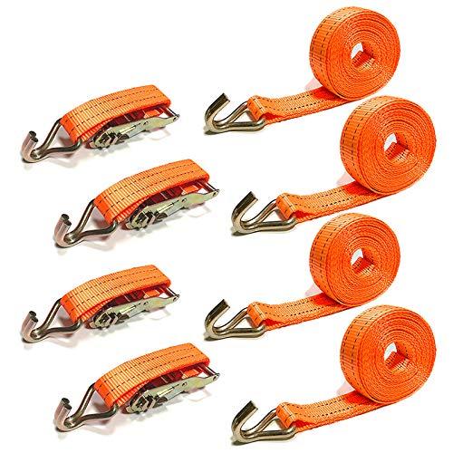 UISEBRT 4er Set Spanngurt mit Haken ratsche 2000kg 6 Meter - Ratschengurte für Profis und Privattransport (Orange mit Haken,4er Set)