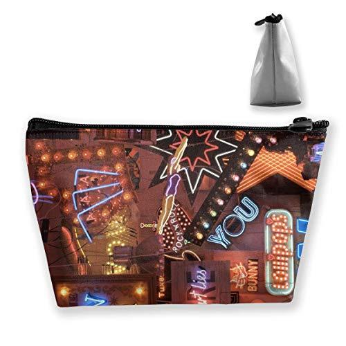 Sac cosmétique portable Street Neon Lights trapézoïdal sac de rangement avec impression multifonction pour femmes