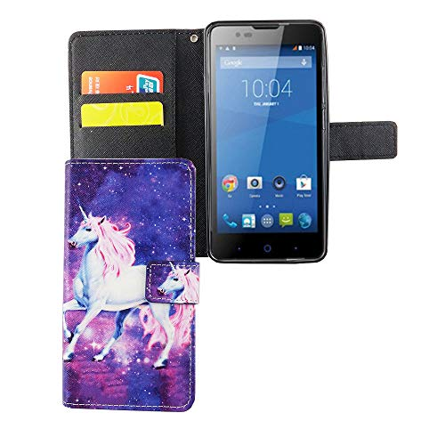 König Design Handyhülle Kompatibel mit ZTE Blade L3 Handytasche Schutzhülle Tasche Flip Hülle mit Kreditkartenfächern - Einhorn Violett