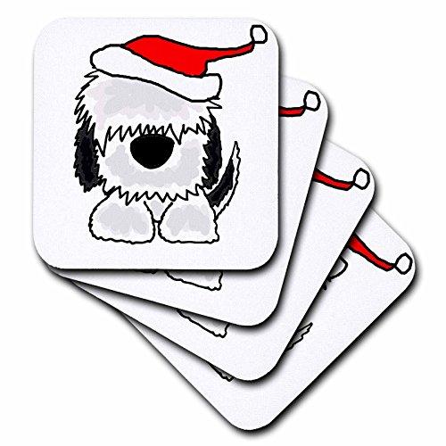 3dRose CST_201773_1 Lustiger Alter englischer Schäferhund mit Weihnachtsmütze, weiche Untersetzer (4 Stück)