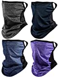 4 Pieces Bandanas Face Scarf Ear Loops Face Rave Cover Balaclava Neck Gaiter for Women Men Outdoors Sports (Gray, Purple, Blue, Navy Blue)