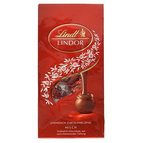 Lindt Lindor Beutel Milch, Kugeln aus feinster Vollmilch Chocolade mit einer unendlich zartschmelzenden Füllung, 11 Kugeln, glutenfrei, 137g.
