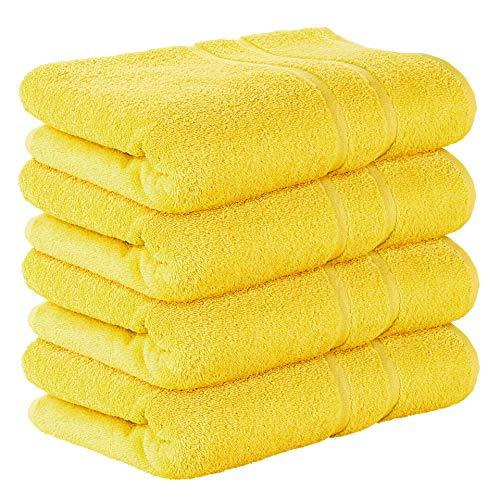 StickandShine 4er Set Premium Frottee Badetuch 100x150 cm in gelb in 500g/m² aus 100% Baumwolle