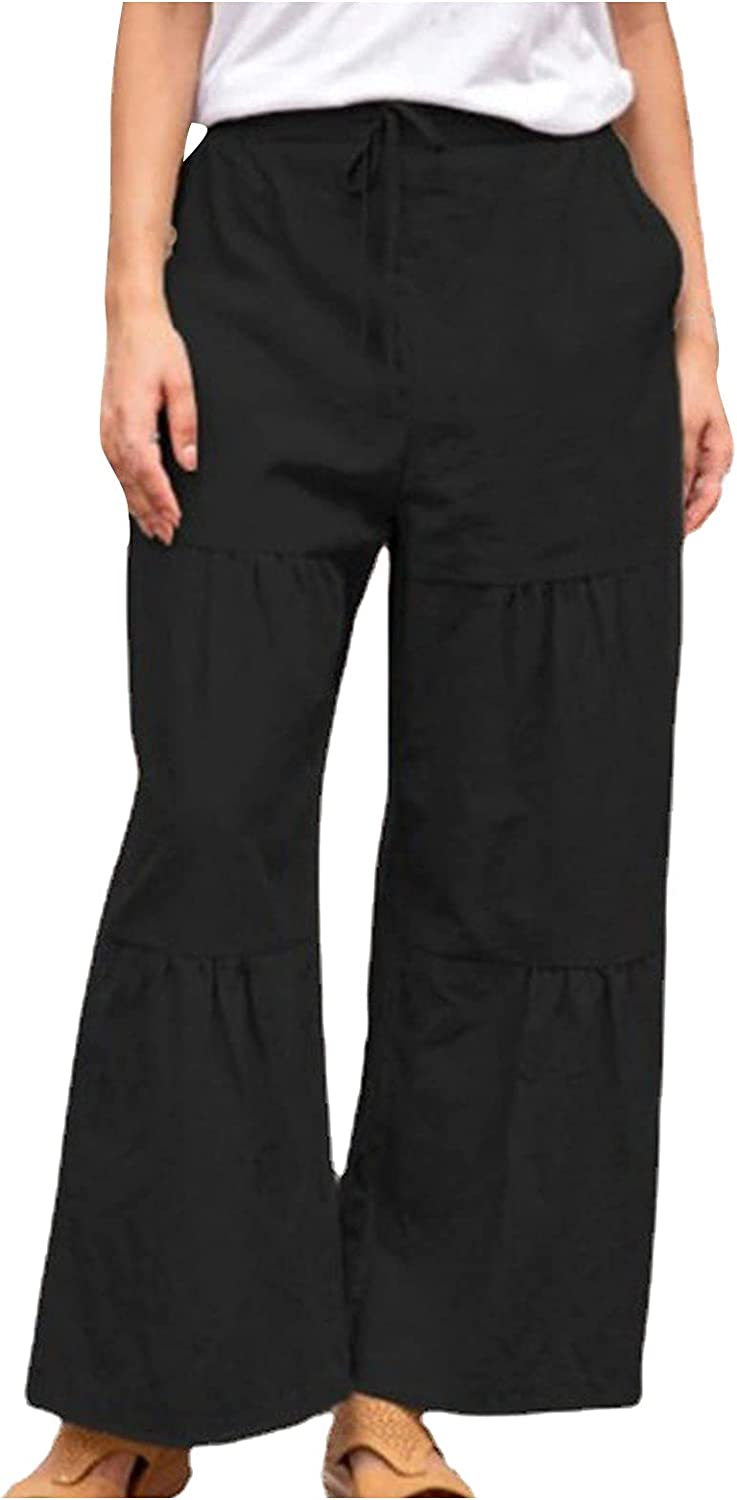 Women Linen Wide Leg Pants High Waist Drawstring Trousers Solid Casual Pants Plus Size Loose Trousers with Pockets