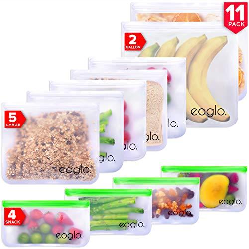 eoglo Food Grade Reusable Storage Bags (11 Pack) | 2 Xlarge Gallon Size + 5 Large Sandwich Size + 4...