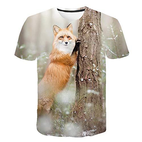 Unisex Sommer T-Shirt 3D Digitaldruck Tier Serie niedlichen Fuchs Muster lässig Männer und Frauen Kurze Ärmel-S_S.