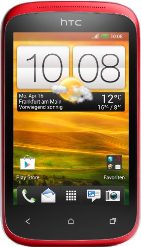 HTC Desire C Smartphone (8,9 cm (3,5 Zoll) HVGA-Touchscreen, 5  Megapixel Kamera, 600MHz, 512MB RAM, 4GB Speicher, Android 4.0 OS) Flamenco Red