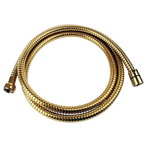 Sanixa 1117OR Qualitäts Duschschlauch Gold 170 cm   Edelstahl   für Handbrause/Duschbrause   Standard Anschluss   Brauseschlauch   Bad Zuebhör