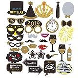 Runfon 1 Set Foto Booth 2019 Nochevieja Fiesta Fiesta Photo Aparts Kit DIY Phototooth Prop Incluir máscaras Mustache Hat Sombrero de la víspera de Año Nuevo Fiesta de la víspera Suministros