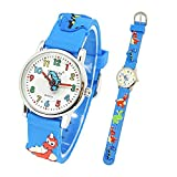 Toddler Kids Children Watch,3D Cute Cartoon Silicone Band Wristwatches Time Teacher Gifts Watches for Kids Girls Toddlers (Blue Dinosaur)