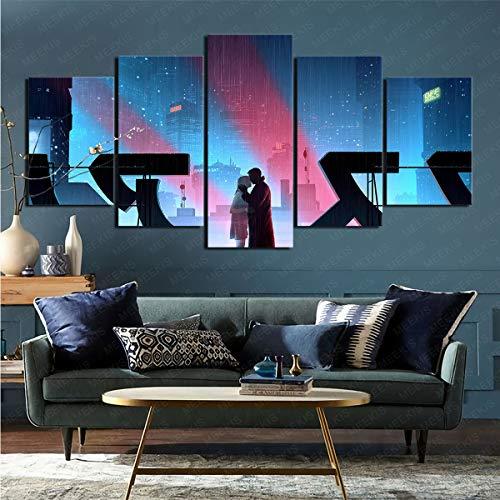mmkow On Canvas Wallmovie Blade Runner 2049 On Canvas Abstract5 Panels Mount Best Gift Poster Design Modern100X50Cmframeless