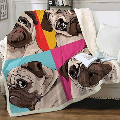 "Sleepwish Sherpa Fleece Bed Throw Pop Art Four Pugs Print Soft and Fuzzy Plush Blanket Gifts for Pet Animals Puppy Dog Lovers Throw(50""x60"")"