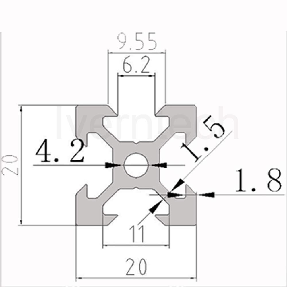 Iverntech 4 pi/èces 400mm 2020 V Type noir Norme europ/éenne anodis/é Rail lin/éaire profil/é en aluminium Extrusion pour imprimante 3D bricolage et Machine CNC