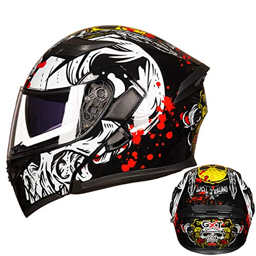 Cool Motorcycle Helmet,DOT/ECE Approved Personalise Graffiti Flip Up Front Helmet Light Breathable Easy to Clean Full Face Motorbike Helmet,4,L58to59cm