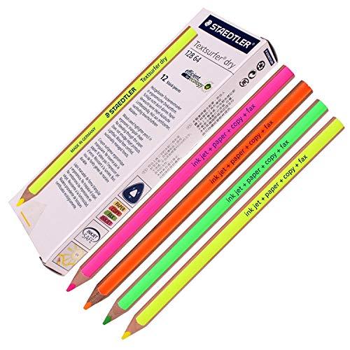 Staedtler Textsurfer Lápiz resaltador seco para escribir y dibujar sobre tinta, papel, copias, fax (12 unidades, varios colores)