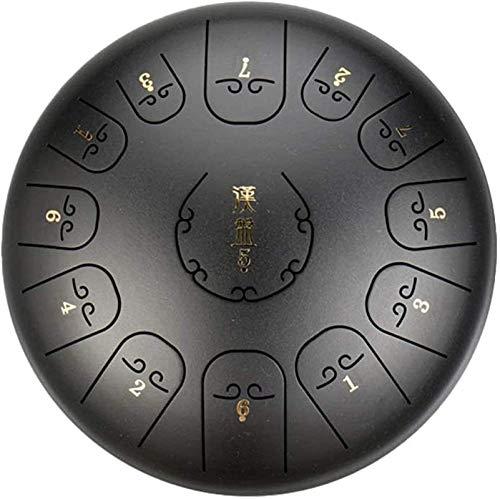 Meditación de yoga Tambor de la lengüeta C de acero C-Nivel de 12 pulgadas Tambor de la lengua de acero 13 tono | Instrumento de percusión de tambor sánscrito | Regalo boutique con palillos y bolsa de