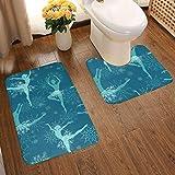 Non-Slip Bathroom Rugs 2-Piece Set,Fancy Snowflake Ballet Dancers,Extra-Soft Washable Plush Bath Mat Shower Bath Rugs