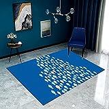 Alfombra moderna para salón (80 x 120 cm), para dormitorio, salón, de pelo corto y con cuadros grandes, ideal para interiores y salones, lavable (alfombra LPGFB18)