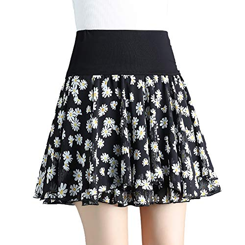 MOFENGWU Frauen Kurzer Rock, Elastische Hohe Taillen-Kleid-Schwingen-Chiffon- Mit Blumen Plissee Kurzen Röcke,A,L