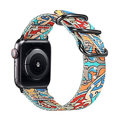 Fintie Armband kompatibel mit Apple Watch SE/Series 6 5 4 3 2 1 44mm 42mm - Premium Nylon atmungsaktive Sport Uhrenarmband verstellbares Ersatzband mit Edelstahlschnallen, Farbe-A