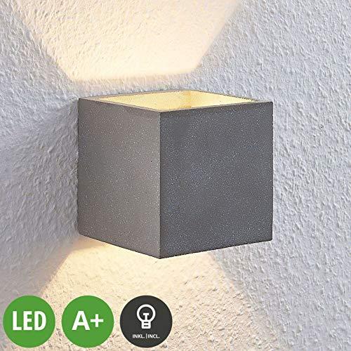 Lindby Beton LED Wandleuchte, Wandlampe Innen 'Nellie' dimmbar (Modern) in Alu aus Beton, u.a. für Wohnzimmer & Esszimmer (1 flammig, G9, A+, inkl. Leuchtmittel) - Wandstrahler, Wandbeleuchtung
