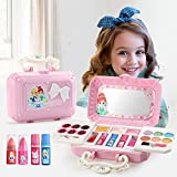 23 Pcs Girls Makeup Set Pretend Makeup Kit Cosmetic Toy Fake Play Rubber Makeup Set with Cute Cosmetic Bag, Eyeshadow/Lip Gloss/Blush, Washable Play Makeup for Little Girls