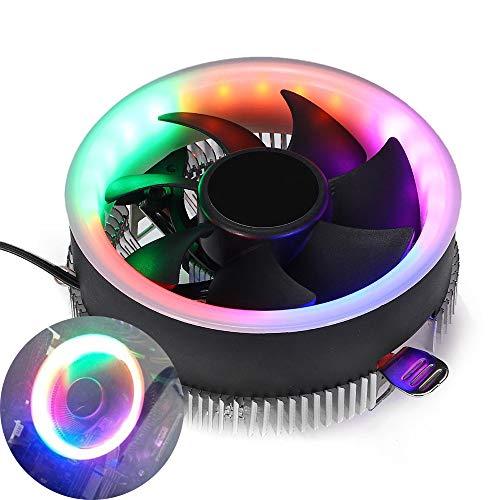 TopHGC Ventilador de refrigeración de CPU, Coloridos Ventiladores de refrigeración LED RGB Radiador silencioso para Intel 775 1156 para AMD AM2 AM2 + AM3 AM3 +